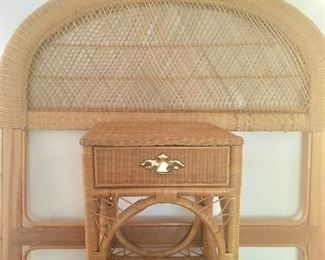 Twin sized rattan headboard and side table