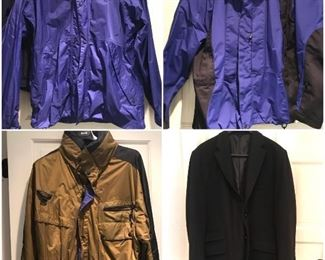 A nice selection of men's coats. Northface, Mountain Goat, Columbia, Polo