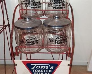 Tom's Toasted Peanuts Display Rack - Jars included have Rare Chrome Lids