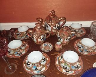 Satsuma Tea Set w/ Lithopane Tea Cups