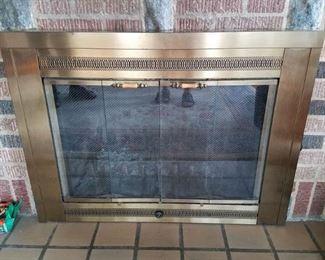Fireplace door with screen
