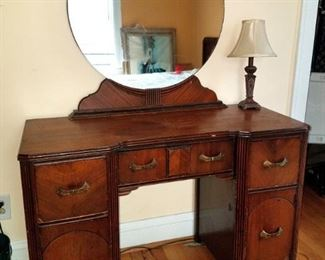 Art deco vanity desk with mirror...matches dresser in previous photo. $60