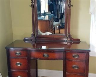 Federal style vanity desk with custom cut glass top. All wood. $90