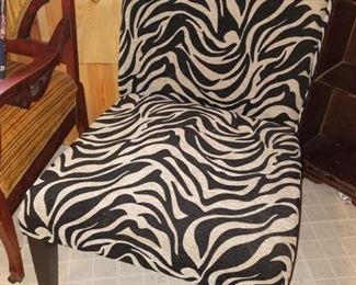 Zebra pattern slipper chair $35