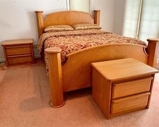 Solid Oak, Queen Bedroom set with mattress; 2 matching nightstands, Armoire, Ladies dresser w/mirror and Tall dresser.  New: $6,000.00, sell for $900.00- WILL NOT BE 70% OFF