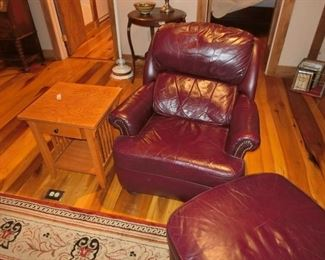 Leather Barca Lounger w/ Ottoman