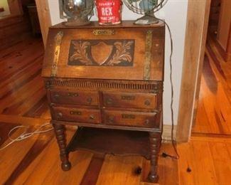 Antique Solid Oak Twist leg Secretary