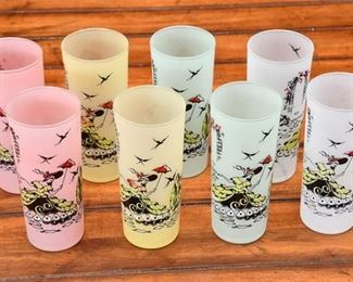 4. Lovely Set of Eight 8 Vintage 1950s Southern Belle Tall Cocktail Glasses