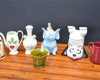 2. Mixed Lot Whimsical Ceramic Figurines and Vessels, Cookie Jars,  Vases
