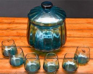 1. Vintage MCM Blue Glass Punch Bowl wLid Six 6 Cups