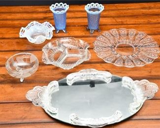 6. Mixed Lot Seven 7 Vintage Glass Collectibles  Vanity Tray