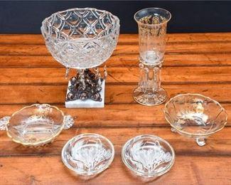 7. Lot Six 6 Vintage Decorative Glass ServingCandy Dishes wCenter Dish