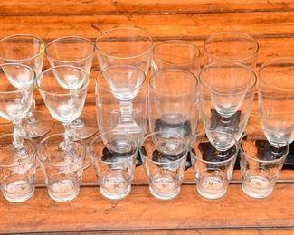9. Mixed Lot Seventeen 17 Vintage Art Deco BarwareStemware Glasses