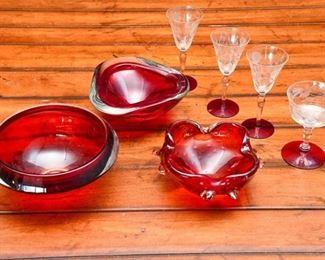8. Group Ruby Red Glass Ashtrays  BarwareStemware Glasses MURANO ITALY