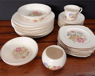 10. Large Lot Vintage Bakerite China Set with Flower Decoration