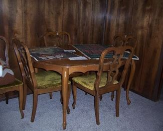 WOOD TABLE W/6 CHAIRS