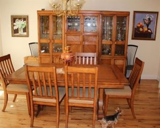 Dining Room Table with 6 Chairs and Breakfront