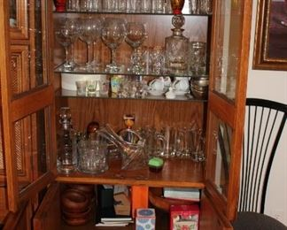 Breakfront filled with Glassware, Stemware and more..