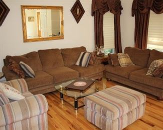 Sofas and Occasional Chairs & Tables with Mirror and Sconces
