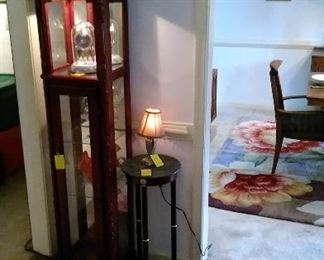 Display cabinet, marble top plant stand, floral runner