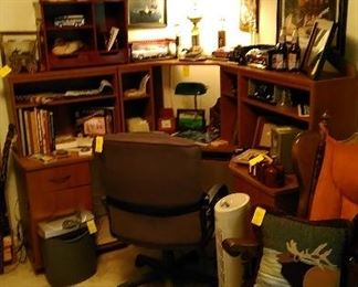 3 section desk with lamps, desk chair, back massager, Iowa Jima Cruise books, diecast cars, ships wheel suited as a picture frame and many accessories.