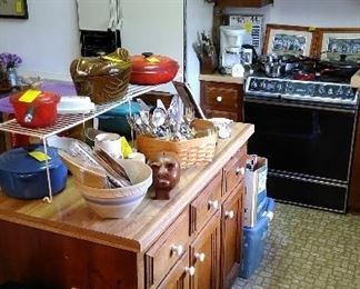 LeCreuset cookware, Ronco knife sets, Staub roaster, vintage cook books, step-on can.