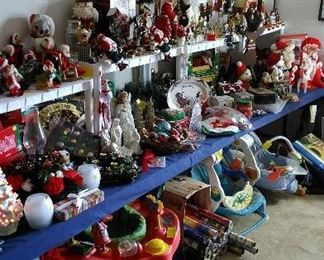 Many holiday decorations and many children's items including Anna Lee dolls.