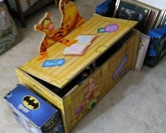 Great toy chest with safety lid, Batman items, framed art work