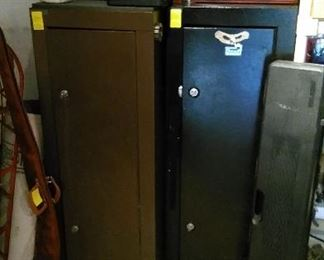 Gun safes, rifle cases and rack.