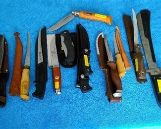 Filet knives including a CutCo knife.
