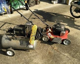 Craftsman air compressor and a lawn mower