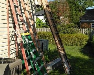 32' alumin. extension ladder, 10' and 6' A frame folding latters