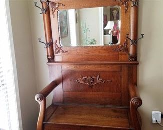 Antique Oak Hall tree with mirror, bench  from Rome Georgia