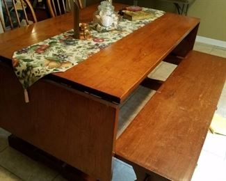 Fabulous handmade trestle table with bench seats 8 people, made many years ago by family member