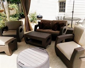 Outdoor sofa, two chairs, ottoman coffee table
