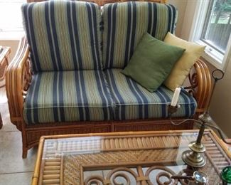 Rattan love seat and beautiful rattan coffee table and end table