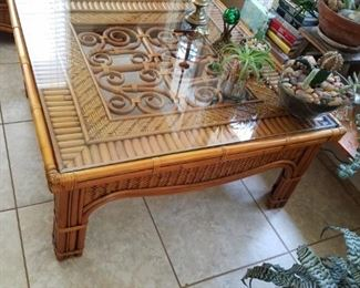 Beautiful scrolled rattan table
