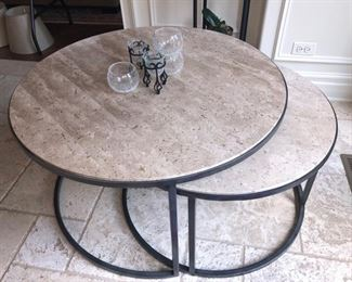 Travertine/metal coffee table - just gorgeous!!