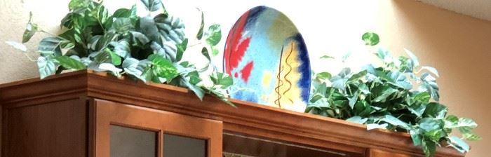 Artistic Platter, Silk Plants