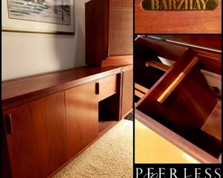mid century BARZILAY component cabinet and pair of retro speakers