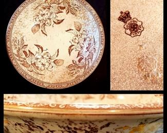 This antique English Doulton Burslem transferware wash bowl once belonged to Bette Davis!  It was a gift to her realtor when she sold her Westport CN home.
