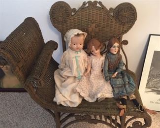 Antique Wicker Chair and rare dolls