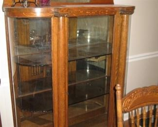 Oak china cabinet.  Glass has been replaced with plexi.