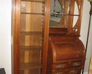 Bookcase secretary with roll top