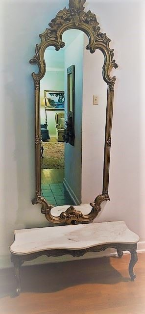 French style foyer table with matching gold mirror