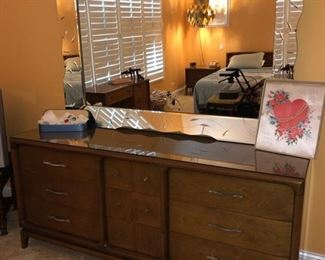 Matching dresser and etched mirror