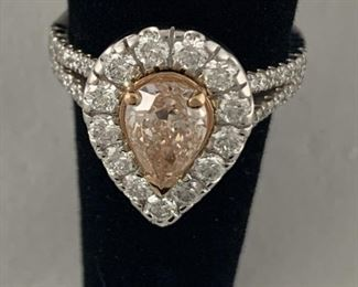 GORGEOUS GIA CERTIFIED FANCY PINK BRILLIANT PEAR SHAPED DIAMOND. 1.3 3 CT RING IN 18k GOLD SETTING