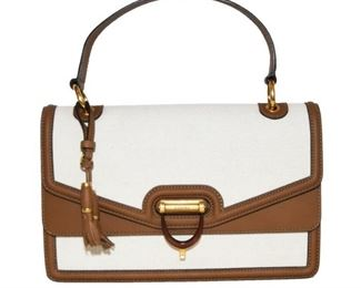 GUCCI DERBY BEIGE AND BROWN LEATHER/CANVAS HANDBAG