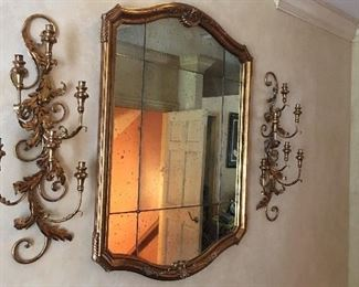 Ornate Mirror and sconces