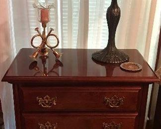 American Drew Night Stand, Tiffany Style Lamp